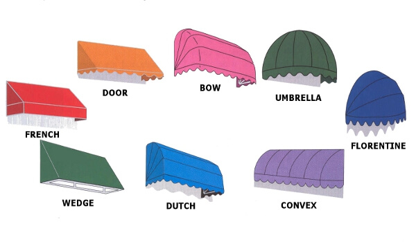 canopy awning types